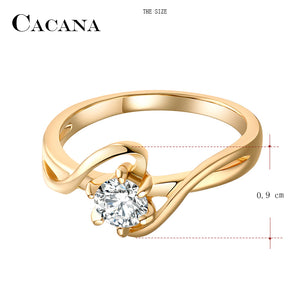 CACANA Cubic Zirconia Rings For Women Surround S Type Trendy Zinc Alloy Rings Jewelry Bijouterie Wholesale (FREE SHIPPING TO USA)