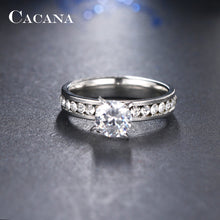CACANA Titanium Stainless Steel Rings For Women Circle CZ Fashion Jewelry Wholesale (FREE SHIPPING)