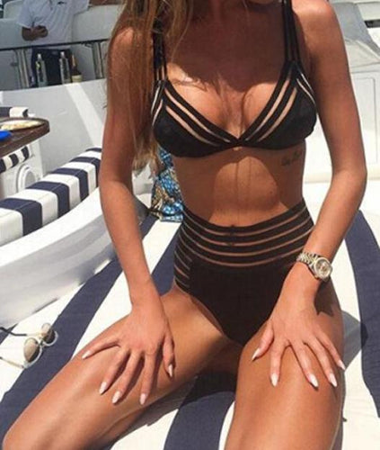 Striped High Waisted Modern Bikini Set
