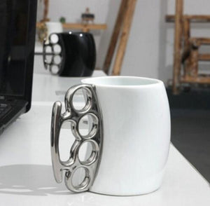 Knuckle-Grip Stainless Steel & Porcelain Mug 3