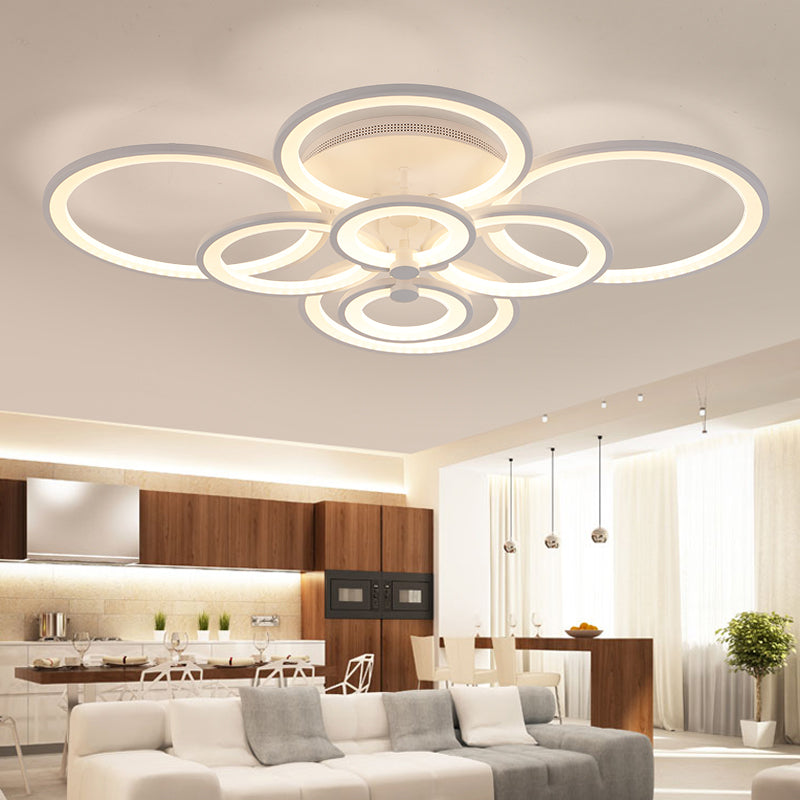 Modern Overlapping-Circles LED Ceiling Light Fixture w/ Remote ...