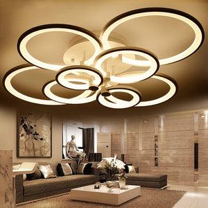 Modern Overlapping-Circles LED Ceiling Light Fixture w/ Remote Dimmer