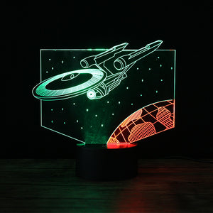 3D Color-Changing LED Night Light Lamp - Iron Man Captain America Star Trek USS Enterprise Batman Joker (7 Color Button Controlled)
