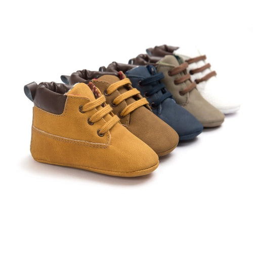 Newborn Baby Infant Toddler Boys Classic Handsome First Walkers Shoes Soft Soled Leather Boots
