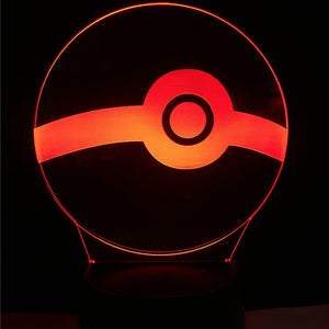 Pokemon Poke Ball Color-Changing USB-Powered 3D LED Night Light Desk Lamp for Kids and Fans of All Ages