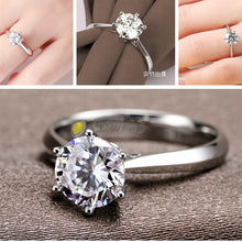 Timeless Platinum Diamond Wedding Ring Classic Simple Jewelry for Women (FREE SHIPPING)