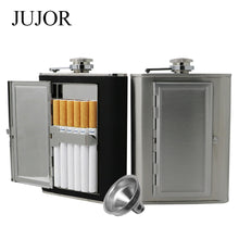 Leather and Stainless Steel Cigarette Case Flask with Funnel (Black/Silver, 5oz/6oz) 1