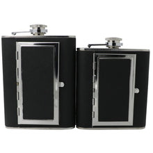 Leather and Stainless Steel Cigarette Case Flask with Funnel (Black/Silver, 5oz/6oz) 5