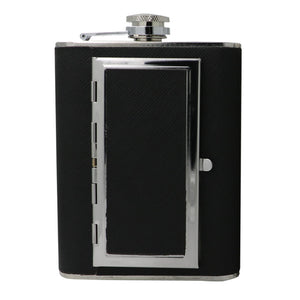 Leather and Stainless Steel Cigarette Case Flask with Funnel (Black/Silver, 5oz/6oz) 4