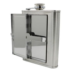 Leather and Stainless Steel Cigarette Case Flask with Funnel (Black/Silver, 5oz/6oz) 3