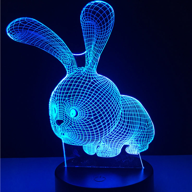 Cute Kawaii Cartoon Animal Rabbit Color Changing 3D Table Lamp LED Night Light For Home Children