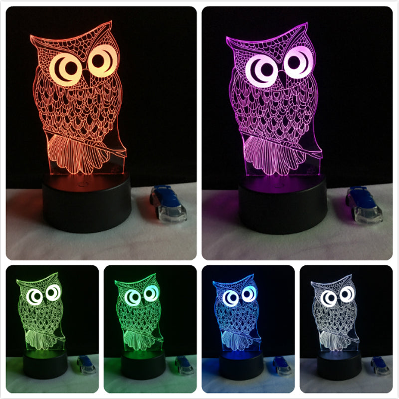 Cute For Table Color Modern Gift Night Owl Animal Light Led Kids 3d Changing Lamp SqVpGzUM