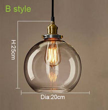 Pendant Glass Light Fixtures (amber or clear glass, 6 different styles)