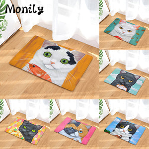 Cute Cat Face Non-Slip Velvet Mat