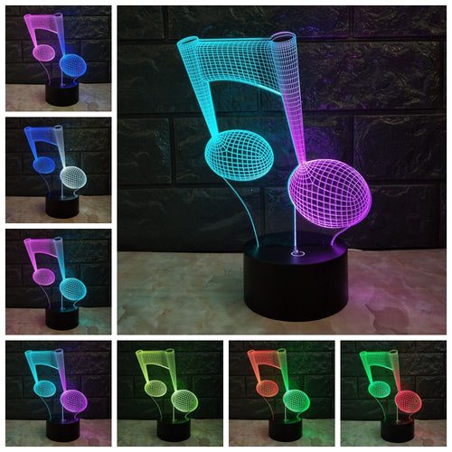 USB-Powered 3D Color-Changing Music Note Night Light Desk Lamp