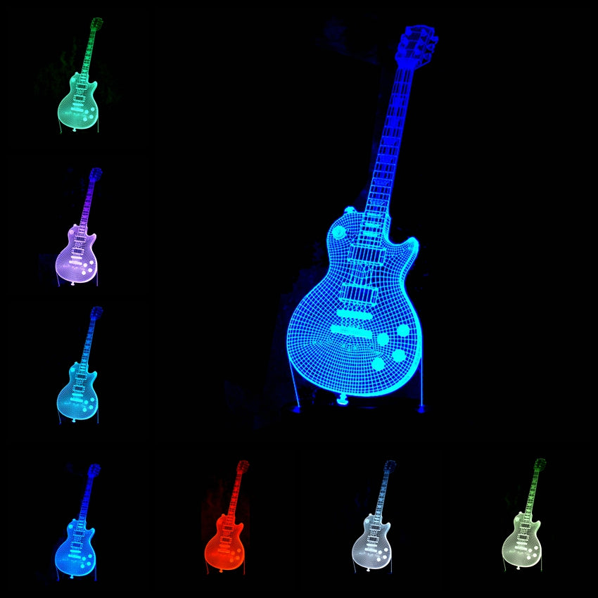 6 string electric acoustic guitar 3d table lamp led music night 6 string electric acoustic guitar 3d table lamp led music night light for musicians aloadofball Images