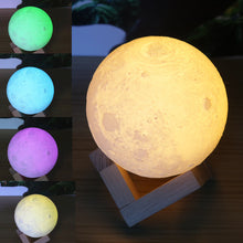 Modern Color-Changing Moon 3D Night Light Lamp w/ Bulb & USB-Powered Rechargeable Battery