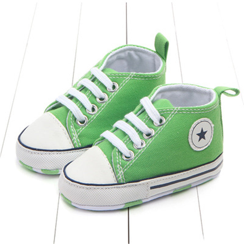 f7bdababdc62 ... New Converse Style Canvas Classic Sports Sneakers Newborn Baby Boys  Girls First Walkers Shoes Infant Toddler ...