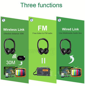 Multifunction Stereo Wireless Headset Headphones with FM Radio and Microphone for MP3 PC TV Audio Phones - FREE SHIPPING