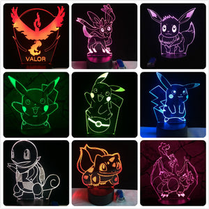 3D Color-Changing LED Lamp w/ Remote - Pokemon Go Pikachu Pokeball Eevee Squirtle Bulbasaur Charmander