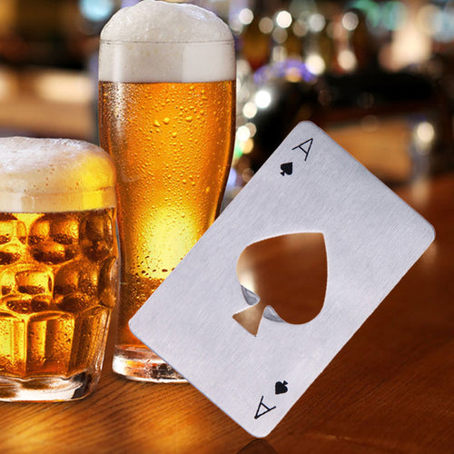 Stainless Steel Ace of Spades Card Wallet Bottle Opener