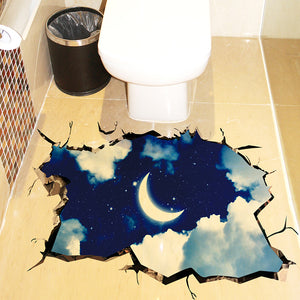 Night Starry Sky 3D Ceiling Stickers Vinyl Material Floor Stickers DIY Wall Decor for Kids Rooms Toilet Decoration