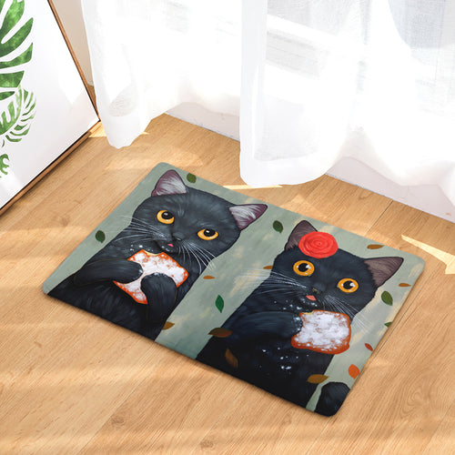 Cute Cat Friends Non-Slip Fleece Mats 1