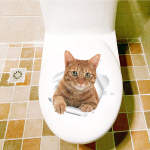 Waterproof Vinyl 3D Screaming Cat Stickers for Toilet Lids, Walls, and Doors