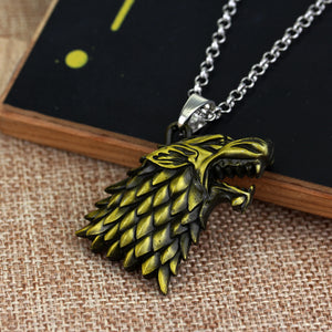 Game of Thrones Jewelry, Stark Family Crest Dire Wolf Pendant (necklace included)