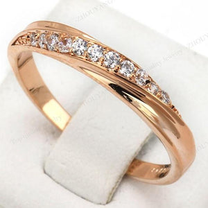 Top Quality Simple Cubic Zirconia Lovers Rose Gold Color Wedding Ring Jewelry Full Sizes Wholesale (FREE SHIPPING TO USA)