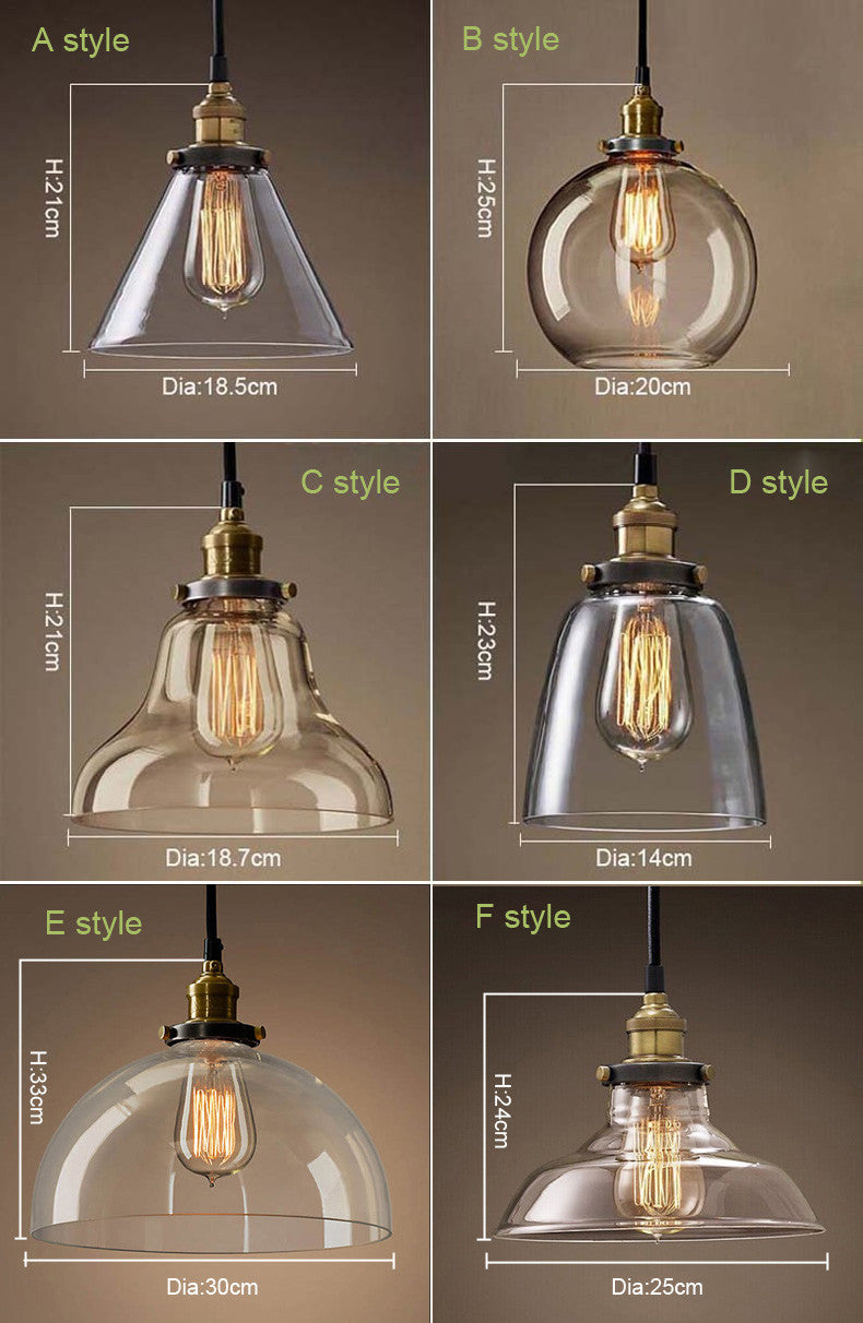 Pendant glass light fixtures amber or clear glass 6 different styles