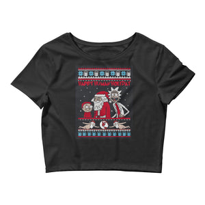 Rick and Morty Happy Human Day Chirstmas Women's Crop Tee