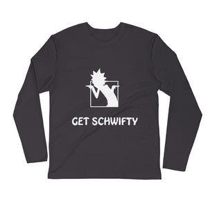 Get Schwifty Rick and Morty Fitted Ring-Spun Cotton Long Sleeve Unisex Crew Shirt