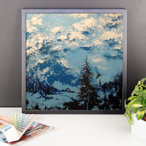 """Blue Elements"" by Oksana Samarskiy Framed Luster Print"