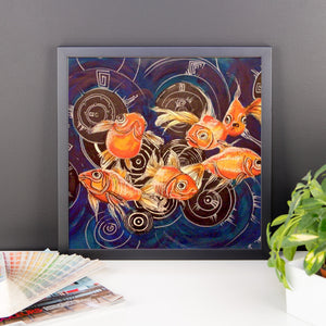 """Fish in the Sea"" by Oksana Samarskiy Framed Matte Poster"