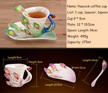Ornamental Peacock Cup, Spoon, and Saucer Set (multiple colors)
