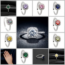 Silver Plated Wedding Rings For Women Square Simulated Zircon Jewelry Bague Bijoux Femme Engagement Ring Accessories (FREE SHIPPING TO USA)