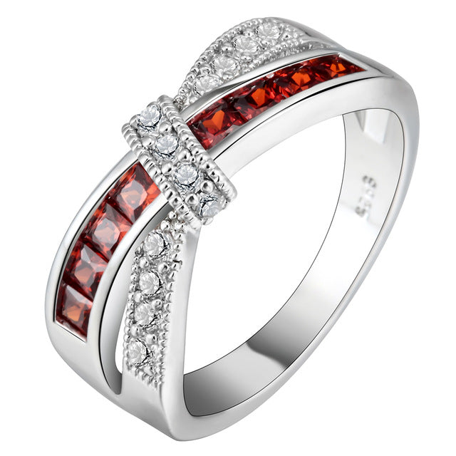 Cross Finger Ring for Ladies Women Girls Paved CZ Zircon Luxury Hot Princess Wedding Engagement Ring Purple Pink Color Jewelry