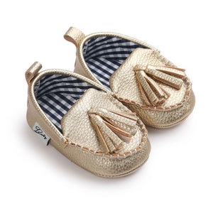 Gold Silver Colored Leather Tassel Toddler Infant Baby Boy Girl Moccasins First Walkers Shoes