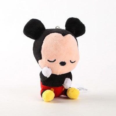 Disney 12cm Cute Mickey Minnie Mouse Plush Toys Doll Winnie Bear Squirrel Bag Ornament Keychain Chip Dale Pendant Toys Gift for Kids