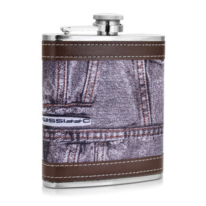 Leather and Stainless Steel Flask with Funnel (Variety of Styles & Sizes Available) 8