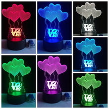 Hearts & Love Color Changing 3D Night Lights