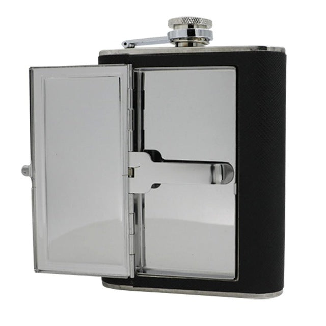 Leather and Stainless Steel Cigarette Case Flask with Funnel (Black/Silver, 5oz/6oz) 9