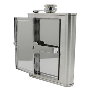 Leather and Stainless Steel Cigarette Case Flask with Funnel (Black/Silver, 5oz/6oz) 10