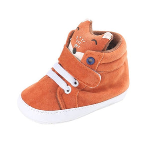Autumn Baby Shoes Kid Boy Girl Fox Head Lace Cotton Cloth First Walker Non-Slip Soft Sole Toddler Sneaker