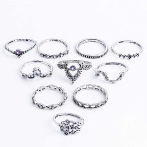 Vintage Silver Hollow-Water Ring Set Authentic Import (10 Pcs/Set)