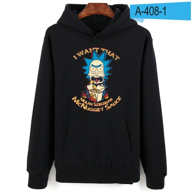 LUCKYFRIDAY Rick and Morty Unisex Printed Pullover Hoodies
