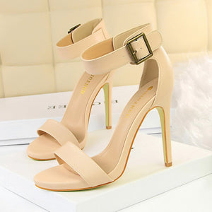 Open Toe Stiletto Plain Sandals