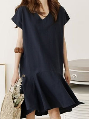 Asymmetric Mid-Calf V-Neck Casual Plain Dress