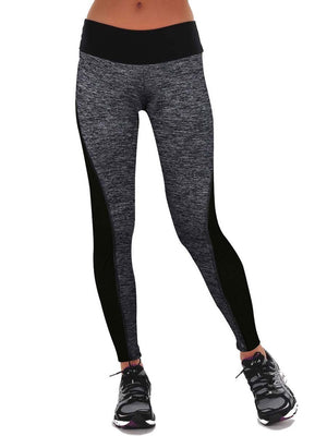 Color Block Patchwork Mid Waist Leggings